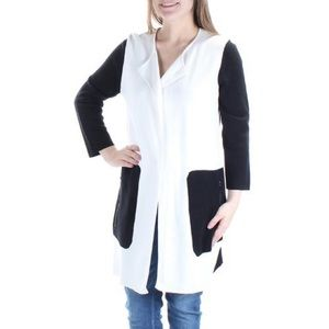 Kasper | Black & White Pocket Long Sleeve Sweater